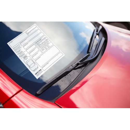 Haldon Info Tags—Removable self-adhesive repair communication form quickly adheres to the windshield